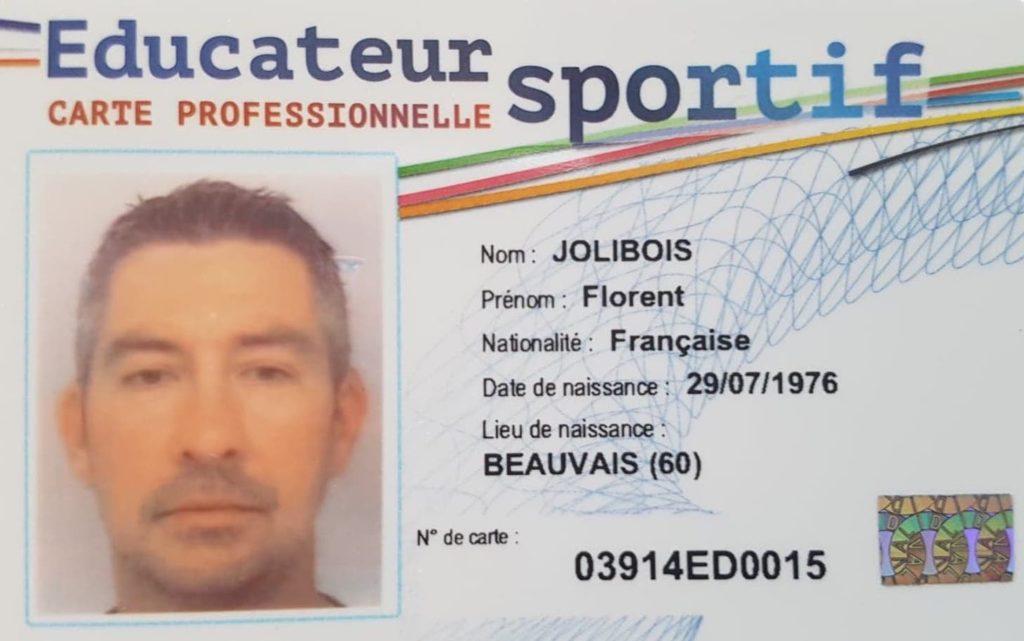 La carte professionnelle d'éducateur sportif de Florent Jolibois